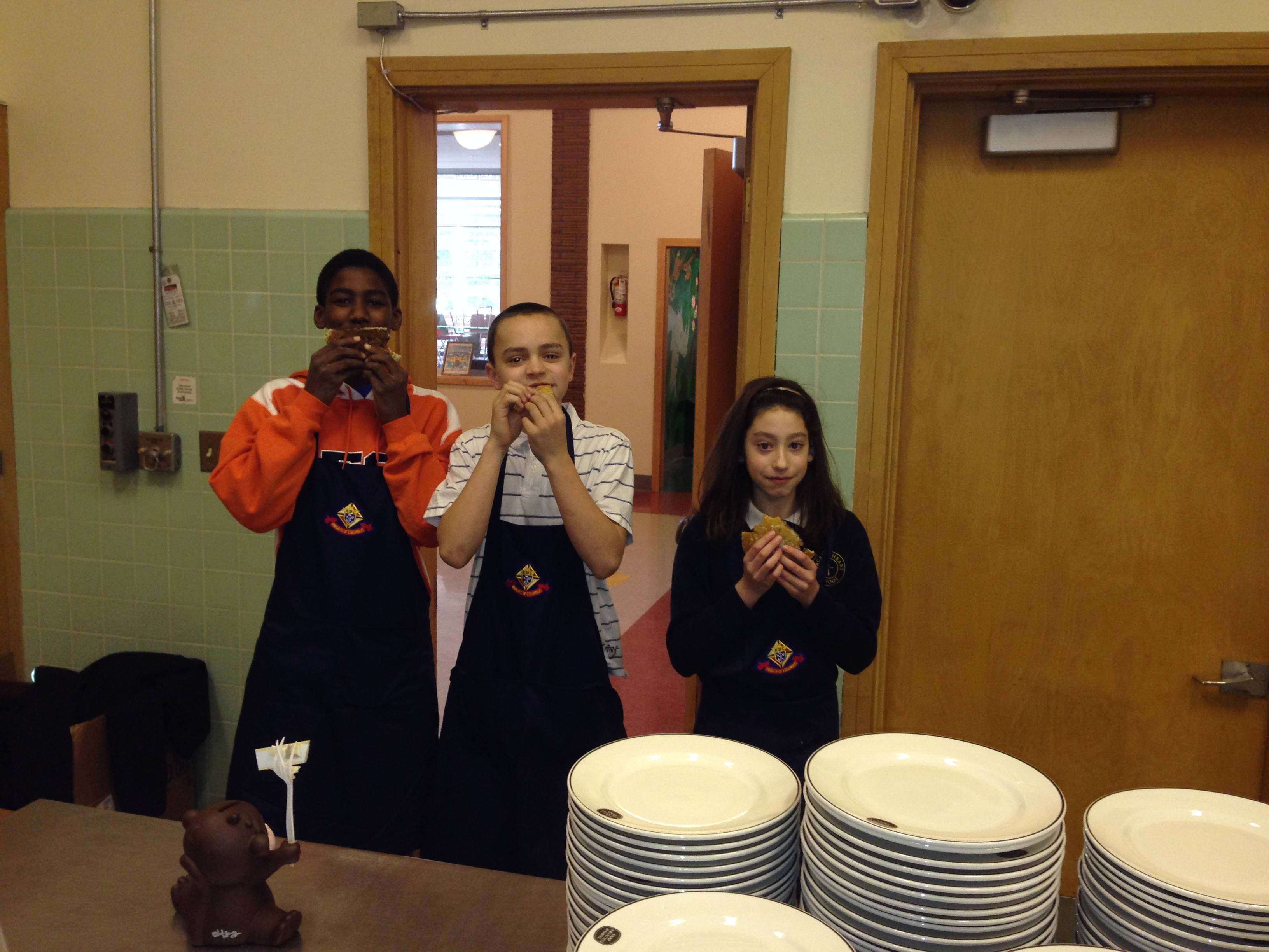 Our great student helpers testing the new blueberry cakes